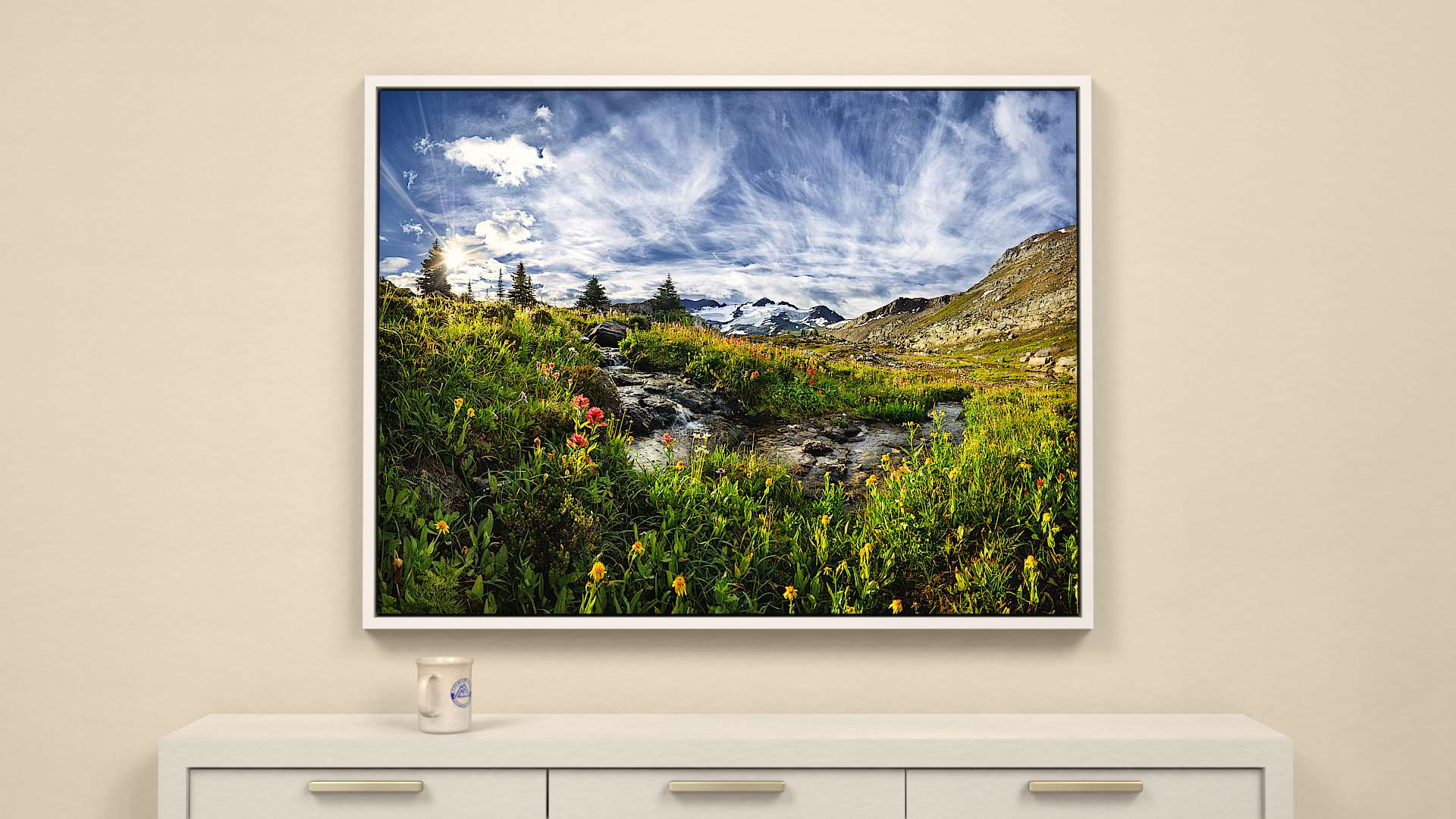 Singing Stream, Silent Mountain Canvas Wall Art